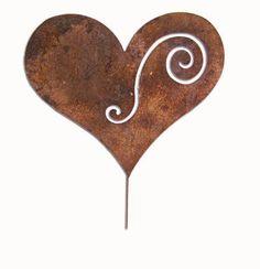 Heart Garden Stake / Yard Art / Garden Decor / Lawn Ornament / Metal Garden Art / Rustic / Decorative on Etsy, $37.99