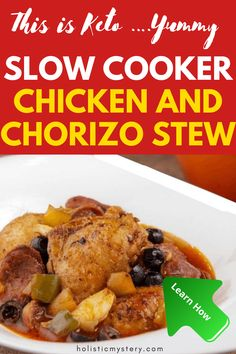 Healthy Keto Chicken chorizo stew in a plentiful tomato dressing in addition to a polished comfort. This Super easy Spanish Chicken Stew is exceptional for a chilly winter months evening provided in addition to cauliflower rice, tortillas, salad and a bit of soured lotion. These Chicken and Chorizo Recipes are never ever standard. For this Easy Dinner Recipes with Chorizo you are searching for the Spanish style chorizo that is prepared and cured. Keto Recipes Dinner Easy, Healthy Low Carb Dinners, Quick Easy Dinner, Keto Dinner, Chicken Chorizo Stew, Spanish Chicken And Chorizo, Slow Cooker Chicken, Paleo Stew, Keto Soup