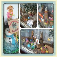 Easter / Spring Window delighting all ! Store Windows, Mailbox, Packing, Easter, Children, Spring, Creative, Display Cases, Bag Packaging