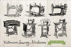 7 Antique Sewing Machines PNG & JPG by Studio29 on Creative Market