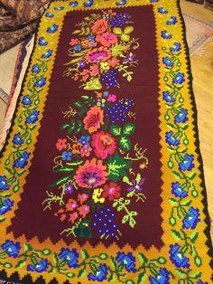"Flower pattern Kilim carpet, 7'5"" x 3'9"",Vintage Turkish kilim rug, area rug, kilim rug, vintage rug, rug embroidered rug, Turkish rug, rugs"