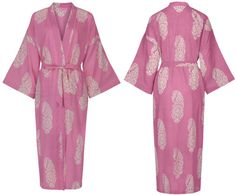 <!-- 004 -->Dressing Gown - Paisley White on Pink