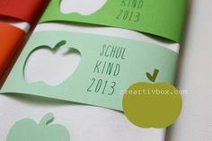 Make banderols for napkins yourself: choose stamping motif matching the motto - Home Page Beginning Of School, First Day Of School, Back To School, Diy Paper, Paper Crafts, Kids Birthday Cards, Toddler Crafts, Baby Cards, Little People
