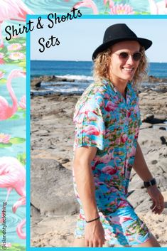Single and Ready to Flamingle? Make a statement this summer in our Men's Hawaiian Shirt & Shorts Set ~ perfect for your everyday casual wear, beach days, cruise wear, festivals, parties, luau's, Tiki & Hawaiian themed parties #cabana #partykit #flamingohawaiians #partyshirts #hawaiianshirts #flamingofriday #hawaiianshirtandshorts #cabana #partykit #bachelorparty #springbreak #cruise #flamingoparty #festivalshirts #festivalfashion #springbreak #bachelorpartyshirts #fun #breakfastshirts