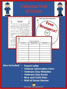 Use this FREE resource to teach your students about Veterans Day. Lists of VD websites and books are provided. Graphic organizers can be used for notetaking. Students will interview family and friend veterans about their service and create a Veterans Wall of Honor.