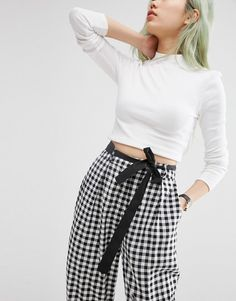 Image 3 of ASOS Woven Peg Trousers with OBI Tie in Check