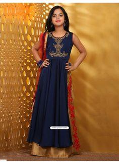 4ffd30ebab Astonishing Blue Taffera Silk Dress Model: YOG348 Dhoti Salwar Suits, Kids  Salwar Kameez,