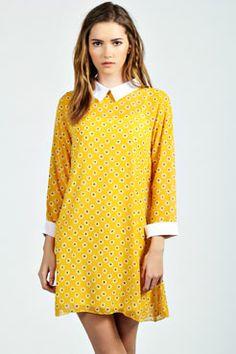 Polly Ditsy Floral Print Collar Shift Dress
