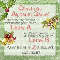 Christmas Alphabet game Illustrations and hand painted text by Lauren C. Waterworth #facebook #instagram #meme #interaction #postengagement #christmas #xmas #alphabet #game #postinteraction #interaction #engagement