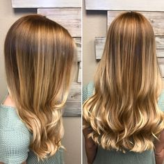 Warm blonde hair with light gold highlights