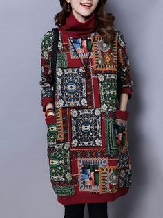 Ethnic Print Patchwork Thicken Women Dresses