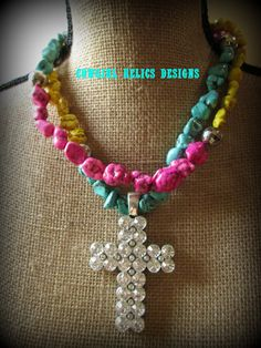Chunky Western Necklace Hot Pink Turquoise by cowgirlrelicsdesigns, $38.00