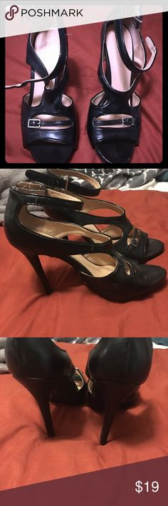 BCBG strappy black heels Black strappy heels from BCBG generation. Gently used with some signs of wear..see pics :) Heels are 3 inches high. Super posh and classy! BCBGeneration Shoes Heels