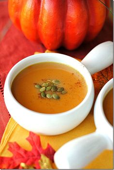 Gingered Pumpkin Soup via Eat Yourself Skinny. Definitely making this for our cold snap tomorrow!