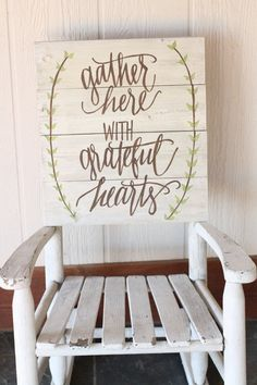 IDEAL FOR THE FRONT PORCH. This hand painted wooden sign features a white washed background with brown font and green leaf detail. The phrase Gather Here with Grateful Diy Signs, Wood Signs, Rustic Signs, Painted Wooden Signs, Hand Painted, Do It Yourself Furniture, My Pool, Porch Signs, Pallet Art