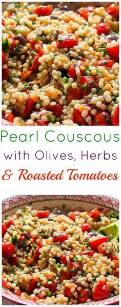 Pearl Couscous with Olives and Roasted Tomatoes