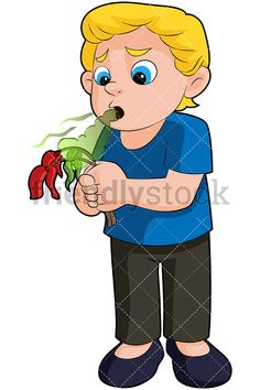 Little Boy Killing A Flower With His Stinky Breath: Royalty-free stock vector illustration of a blond boy with blue eyes, holding a flower with his hands and killing it with his terrible breath. Kids Vector, His Hands, Little Boys, Blue Eyes, Blond, Breathe, Royalty, Clip Art, Illustrations