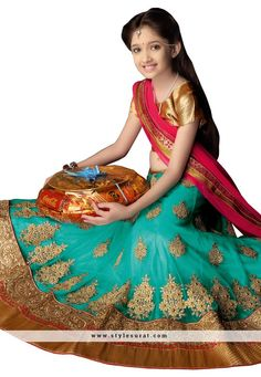 Girls Designer New Lehenga Choli Pakistani Ethnic Indian Bollywood Wedding Kids Bollywood Wedding, Indian Bollywood, New Lehenga Choli, Wedding With Kids, Pink Girl, Pink Blue, Half Saree, Turquoise Color, Work Fashion