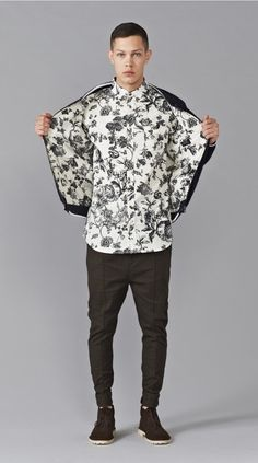 Monocrome Floral Shirt with duplicate print in jacket lining.