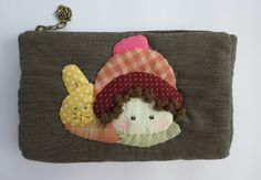 quilt girl rabbit fabric pencil cosmetic cell phone pouch purse mini case bag #Handmade #CosmeticBags