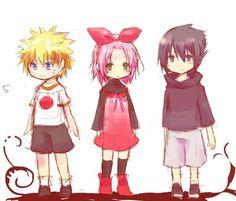 Naruto, Sakura, and Sasuke as children.