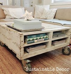 Sustainable Decor: Upcycled Pallet Coffee Table. Next time you see a pallet that's heading for the trash heap take it home and make this little beauty for your living room! #Upcycling #JoinTheRevolution - Rachel