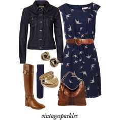 Fall Swallow Dress by vintagesparkles78 on Polyvore featuring moda, Poem, Levi's, Tory Burch, SunaharA, Lauren Ralph Lauren, Zara and Coach