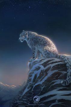 Stunning Clouded Snow Leopard on a Starry Night. Leopard Tattoos, Snow Leopard Tattoo, Beautiful Cats, Animals Beautiful, Cute Animals, Anime Animals, Big Cats Art, Cat Art, Furry Art