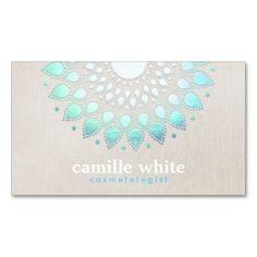 Cosmetology Elegant Circle Light Blue Linen Look Business Card Templates