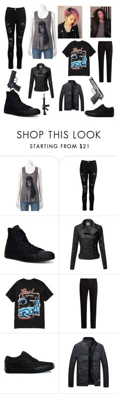 """""""The 21 Centuries Bonnie And Clid"""" by fangirlgaming36 ❤ liked on Polyvore featuring Rock & Republic, Dorothy Perkins, Converse, KURO and Vans"""