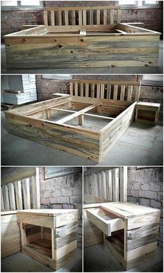 Here is another bed frame with side tables idea, this idea also includes the tables attached to the headboard which is a great way to save the space from occupying. The pallets are attached for creating the headboard with the space between them.