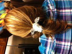 When in a pinch while cooking... Just use Saran Wrap to pull your hair back. It's good for leftovers too.