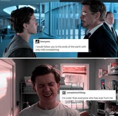 Tom Holland is such a cutie<<<ngl that's the most true statement ever😂 Marvel Memes, Marvel Dc Comics, Marvel Avengers, We Have A Hulk, Tom Holland Peter Parker, Dc Movies, Robert Downey Jr, Tony Stark, Marvel Cinematic Universe