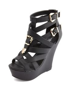 Caged Buckle Strap Wedge: Charlotte Russe