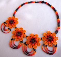Huichol Beaded Flower Necklace