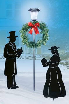 Christmas Couple Shadow Carolers Garden Stakes- Set of 3