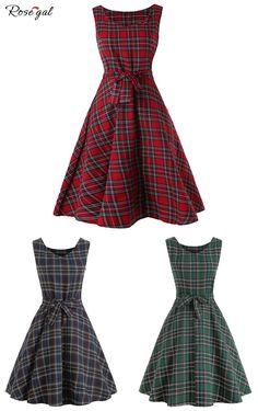 c330c9096f Robe vintage à plaid pour femme  Rosegal  mode  femme