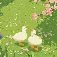 Wallpaper Bonitos, Stil Inspiration, Duck Art, Cute Doodles, Cute Cartoon Wallpapers, Cute Icons, Pretty Art, Cute Illustration, Aesthetic Art