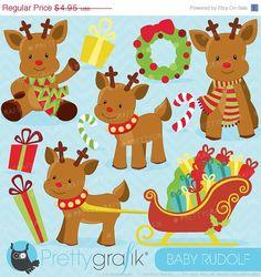 80 OFF SALE Christmas Reindeer clipart by Prettygrafikdesign, $0.99