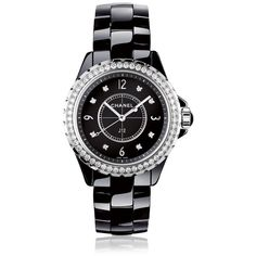 Chanel J12 Diamond Black Dial Black Ceramic Ladies Watch (524,485 DOP) ❤ liked on Polyvore featuring jewelry, watches, dial watches, analog wrist watch, chanel watches, analog watches and chanel