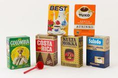 Kahvipakkauksia 60/70-luvulta.