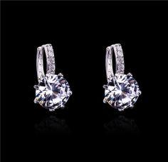 Women's Austrian Zircon Crystal Rhinestone Shining Drop Earrings #cuffearrings #silverearrings #hoopearrings #fashion #diamonds #girls #love #trendsetter #trendy #studs #beautiful