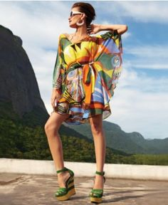 Neon Dress, Three-Quarter V-Neck Printed Belted Dress - Womens Journey to Brasil - Macy's