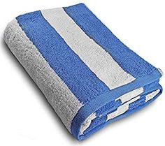 "Custom & Luxurious {35"" x 70"" Inch} 1 Single Jumbo & Thick Soft Summer Beach & Bath Towel Made of Quick-Dry Cotton w/ Simple Classic Coastal Thick Solid Stripes Style [Blue & White]"