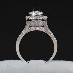 Venta caliente de Moda de Lujo de Las Mujeres de Compromiso Joyería 925 de Plata esterlina ZC 5A Cristal de Circón Femenina anillo de Bodas del Dedo Anillos de La Flor