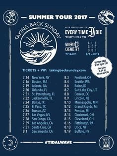 Taking Back Sunday Summer US Tour 2017 | Currently Streaming | Taking Back Sunday | Every Time I Die | Modern Chemistry | All Get Out