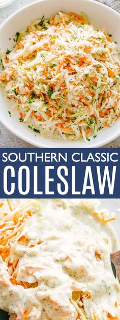 Classic Southern Coleslaw Recipe - Crunchy refreshing and creamy Coleslaw prepared with just a handful of pantry ingredients. Enjoy it as a side dish to grilled meats and savory dishes or mound some on top of hamburgers hot dogs and sandwiches. Classic Coleslaw Recipe, Coleslaw Recipe Easy, Creamy Coleslaw, Asian Coleslaw, Coleslaw Recipes, Side Dishes For Bbq, Vegetable Side Dishes, Side Dish Recipes, Eating Clean