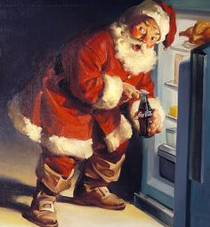 Seeing Red   Conspiracy theorists claim that Santa's iconic crimson and white ensemble actually originated with a marketing scheme by Coca-Cola in the 1930s, when the company featured a jolly, red-suited Santa Claus in its ads to boost sales during cold winter months. While a similarly outfitted Santa appeared years earlier in newspapers like The Saturday Evening Post, many agree that Coca-Cola may have had a hand in creating the Santa we know today.