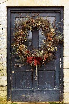 Emma Bridgewater's front door. Christmas Door Wreaths, Cottage Christmas, Christmas Flowers, Autumn Wreaths, Country Christmas, All Things Christmas, Christmas Home, Christmas Holidays, Christmas Crafts