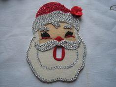 Vintage Christmas Felt Ornament Light Switch Cover  Santa.